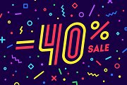 Sale -40 percent. Banner for