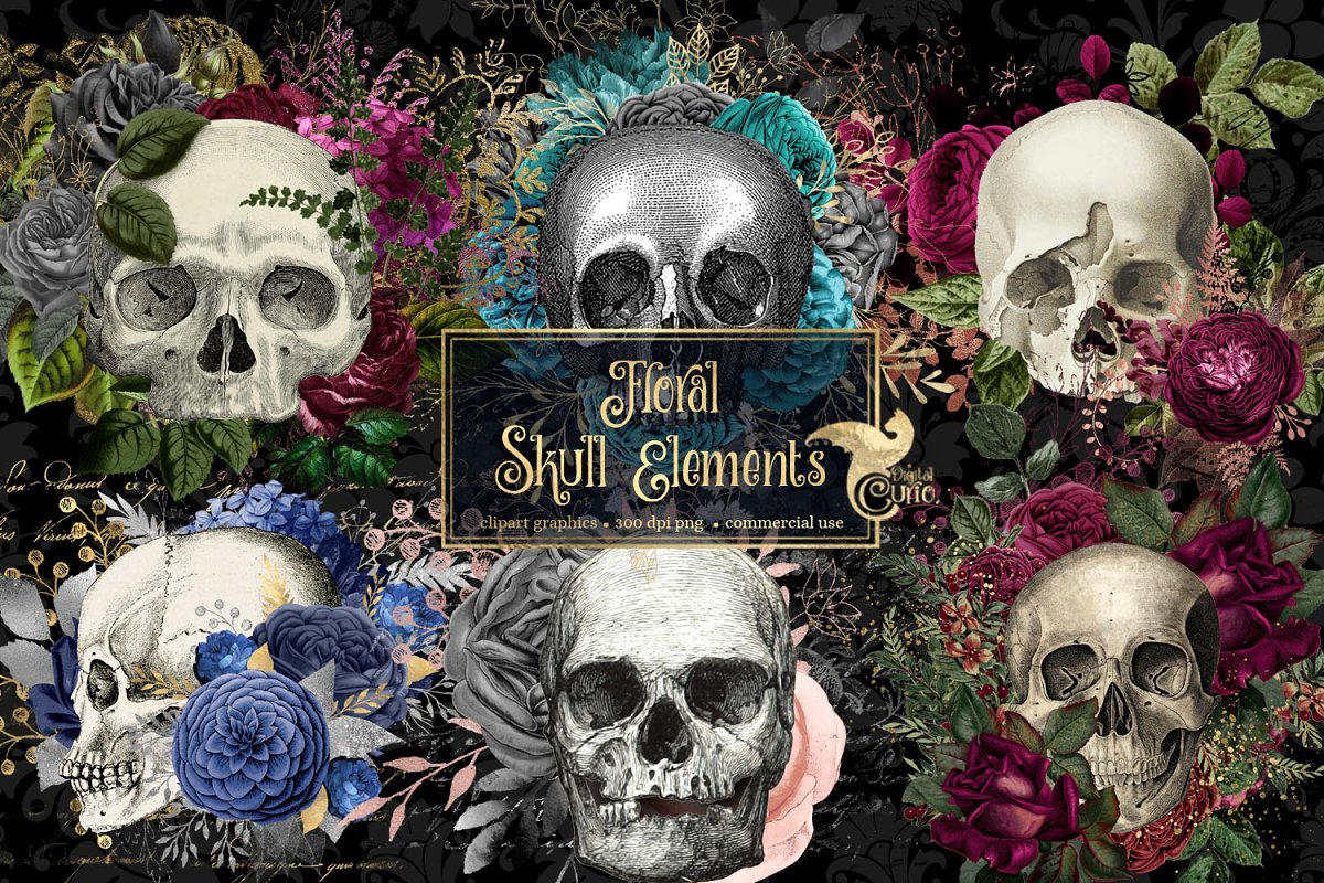 Floral Skull Graphic Elements in Illustrations - product preview 8