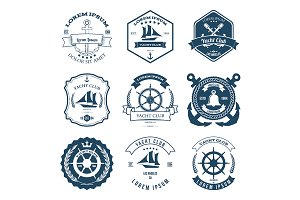 Set of Yacht Club Labels Design
