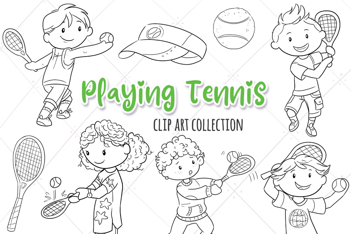 Kids Playing Tennis Black and White in Illustrations - product preview 8