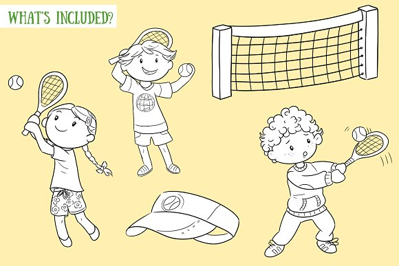 Kids Playing Tennis Black and White in Illustrations - product preview 1