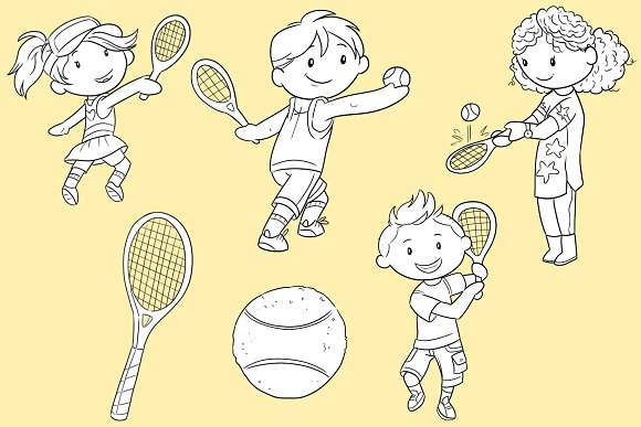 Kids Playing Tennis Black and White in Illustrations - product preview 2