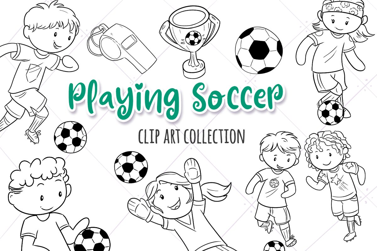 Kids Playing Soccer Black and White in Illustrations - product preview 8