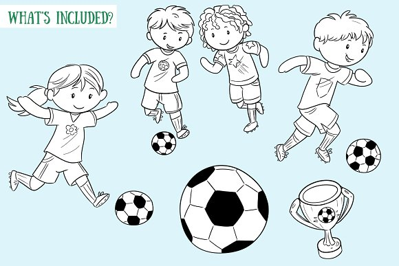 Kids Playing Soccer Black and White in Illustrations - product preview 1