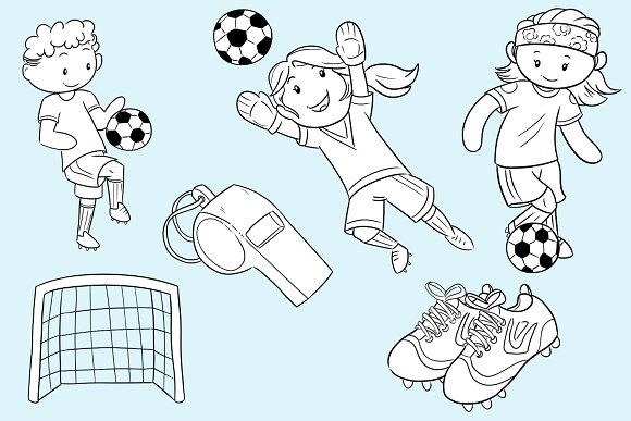 Kids Playing Soccer Black and White in Illustrations - product preview 2