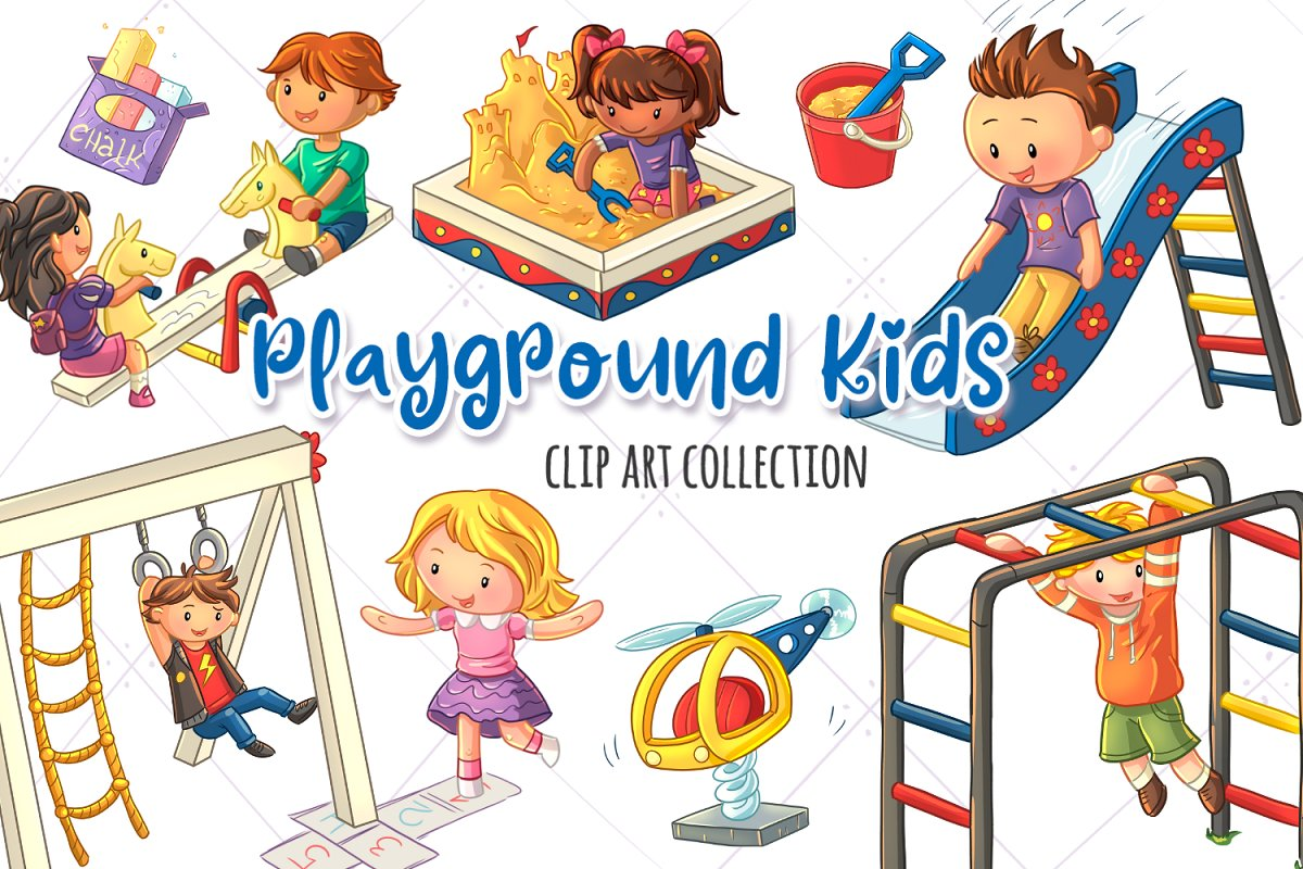 Playground Kids Clip Art Collection in Illustrations - product preview 8