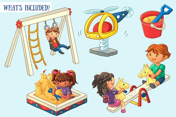 Playground Kids Clip Art Collection in Illustrations - product preview 1
