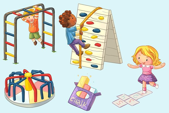 Playground Kids Clip Art Collection in Illustrations - product preview 2