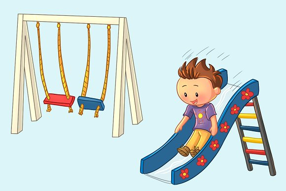 Playground Kids Clip Art Collection in Illustrations - product preview 3