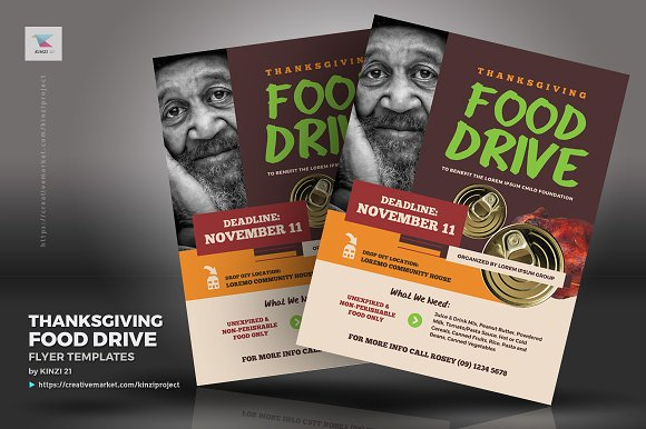 Thanksgiving Food Drive Flyers Creative Photoshop Templates Creative Market