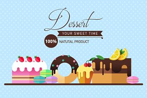 Set of cakes, sweets and desserts