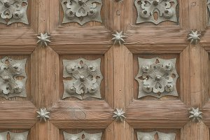 Old carved wooden door