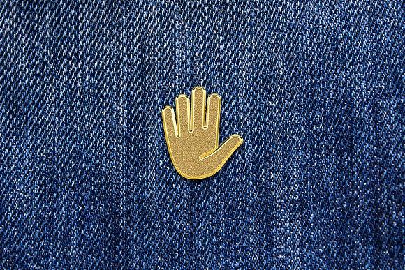 Gold Enamel Pin Mockup in Branding Mockups - product preview 5