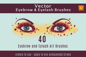 Vector Eyelash and Eyebrow Brushes