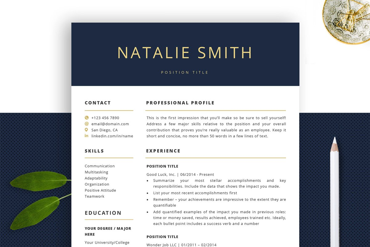 Professional Resume Template | CV ~ Cover Letter Templates ...
