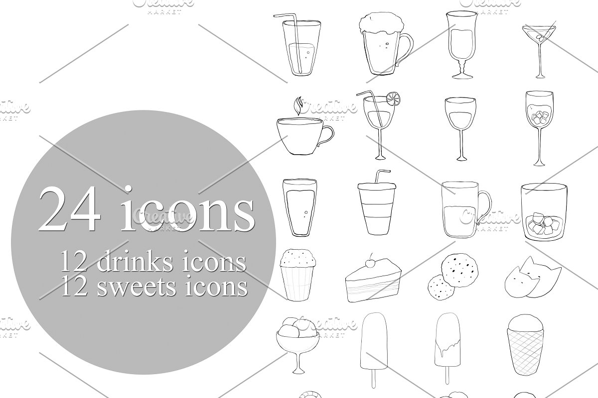 12 drinks icons and 12 sweets icons