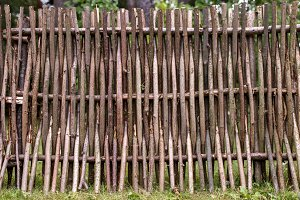 woven of thin rods in the village