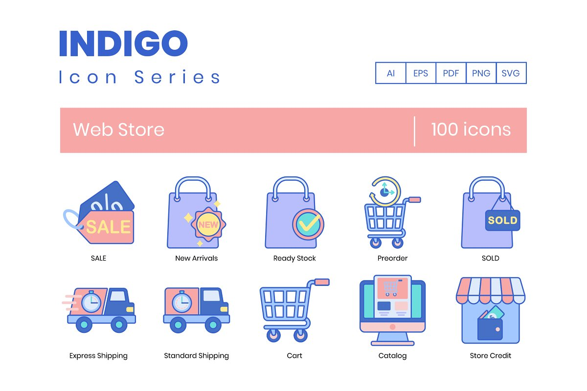 100 Web Store Icons | Indigo Series
