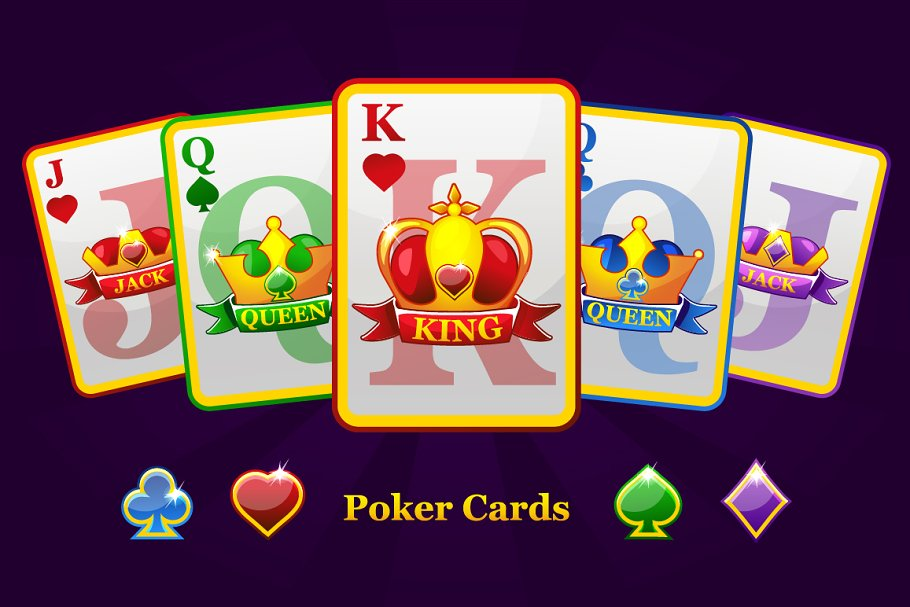 Complete set playing poker cards
