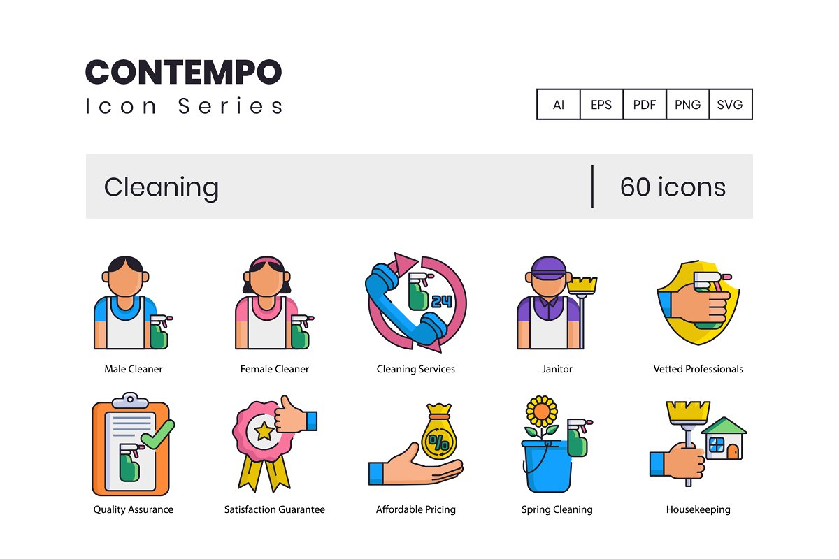 60 Cleaning Icons | Contempo Series
