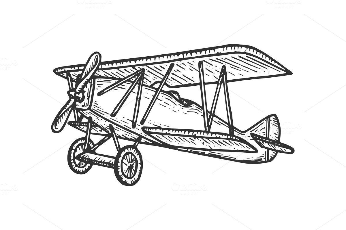 Vintage airplane sketch engraving