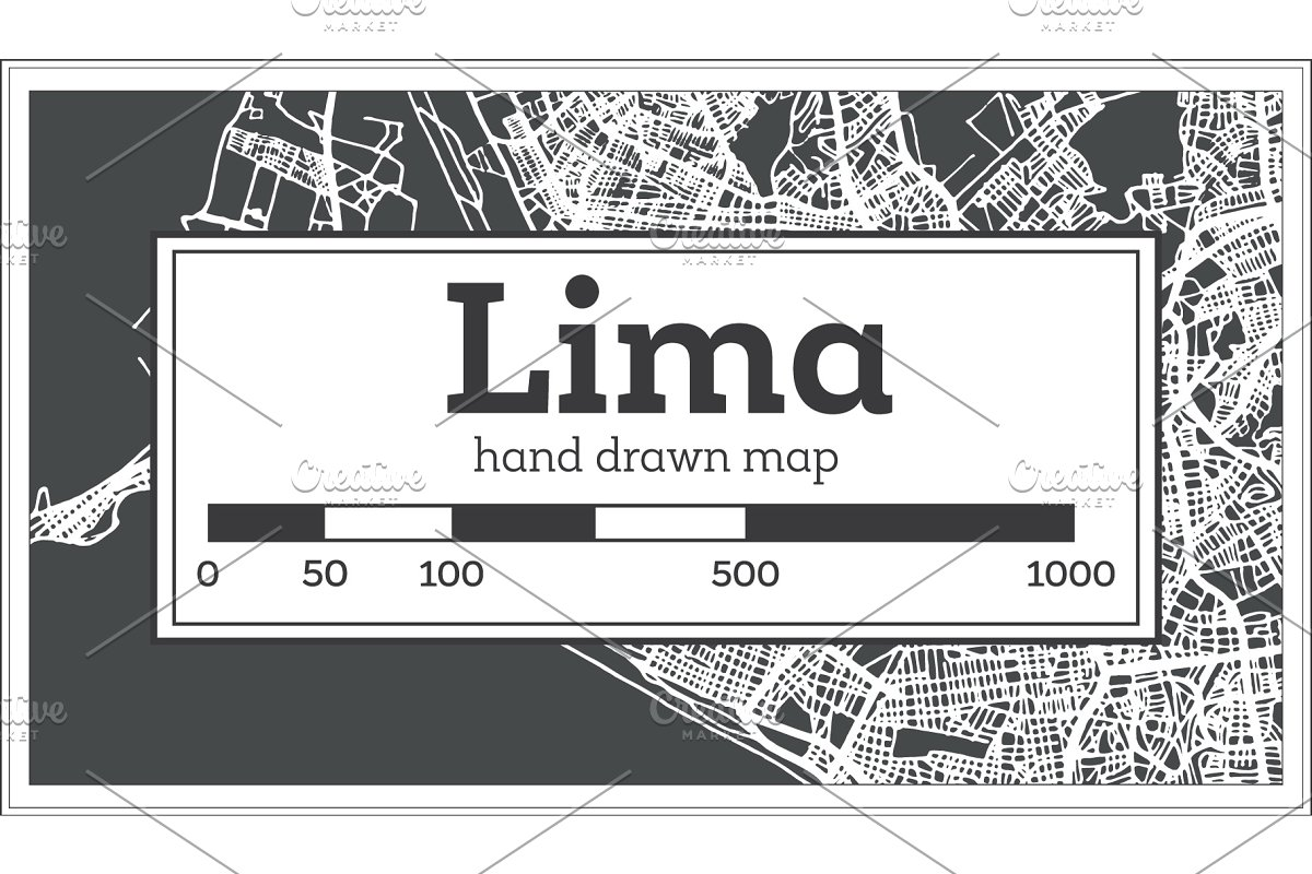 Lima Peru City Map in Retro Style.