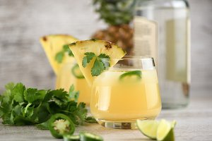 Tequila with pineapple and jalapeno