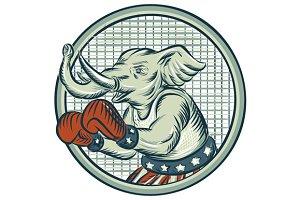 Republican Elephant Boxer Mascot Cir