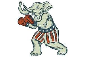 Republican Elephant Boxer Mascot Iso