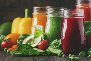 Colorful vegetable juices and smooth