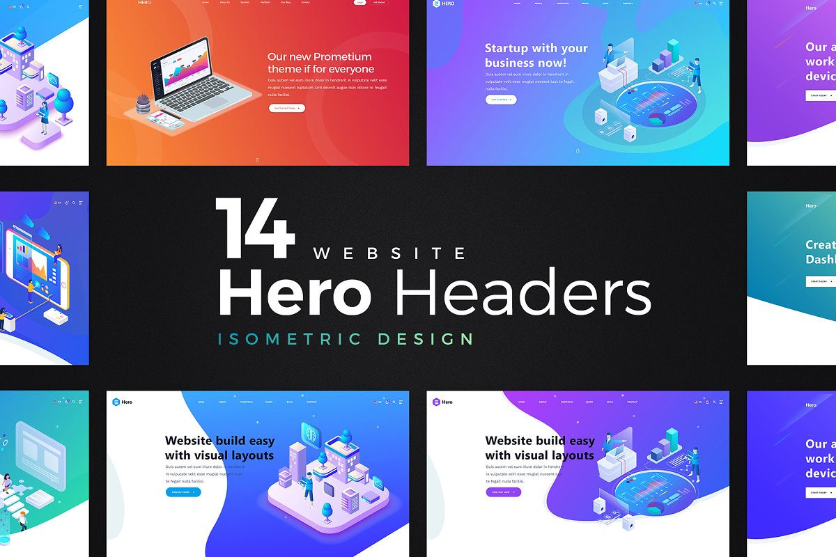 14 Hero Header - Isometric Design
