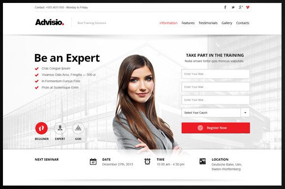 Advisio – Marketing Landing Page in Bootstrap Themes