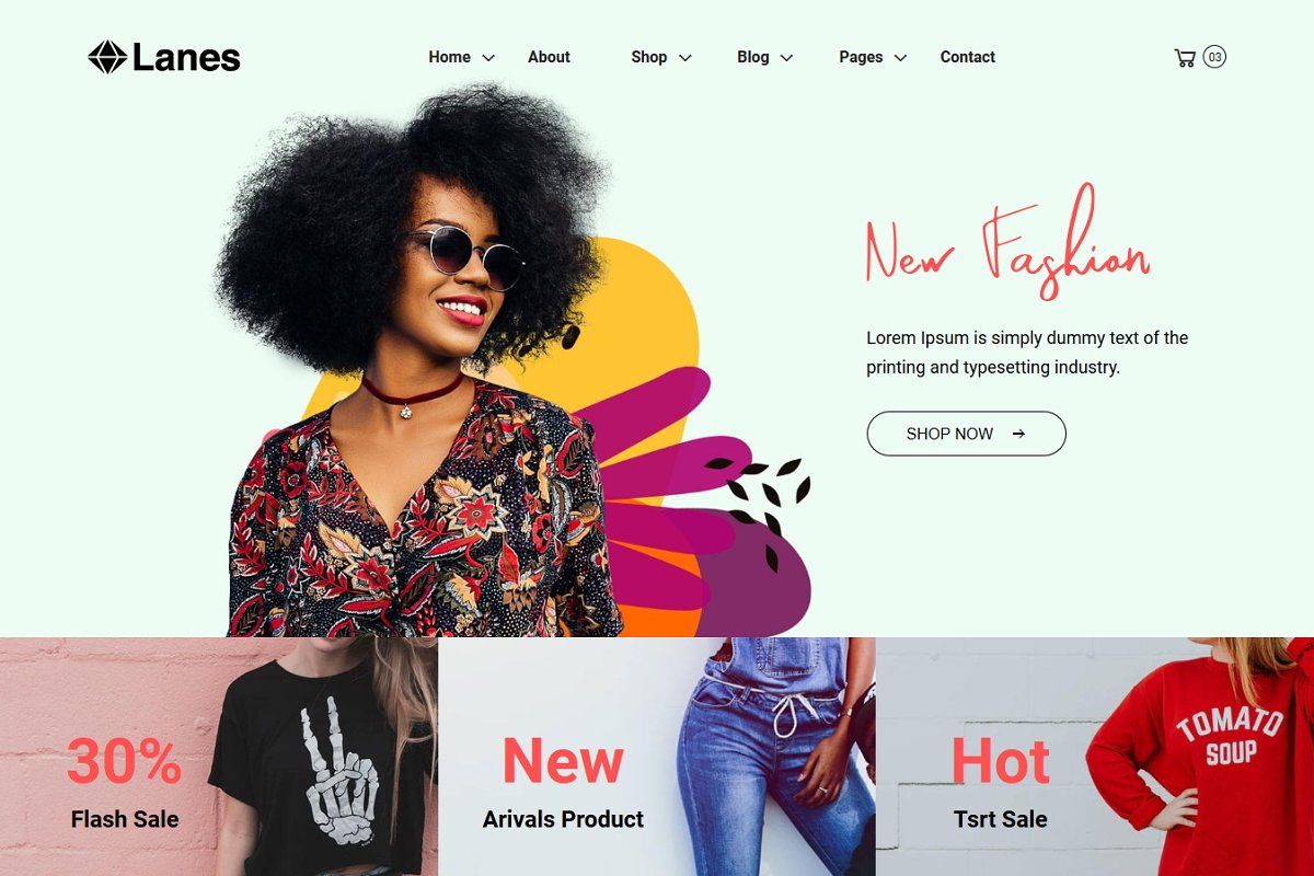 Lanes -eCommerce Bootstrap4 Template