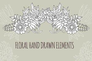 Floral elements doodle set .