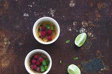 Creme brulee with raspberries & lime