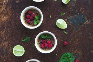 Creme brulee with raspberries & lime