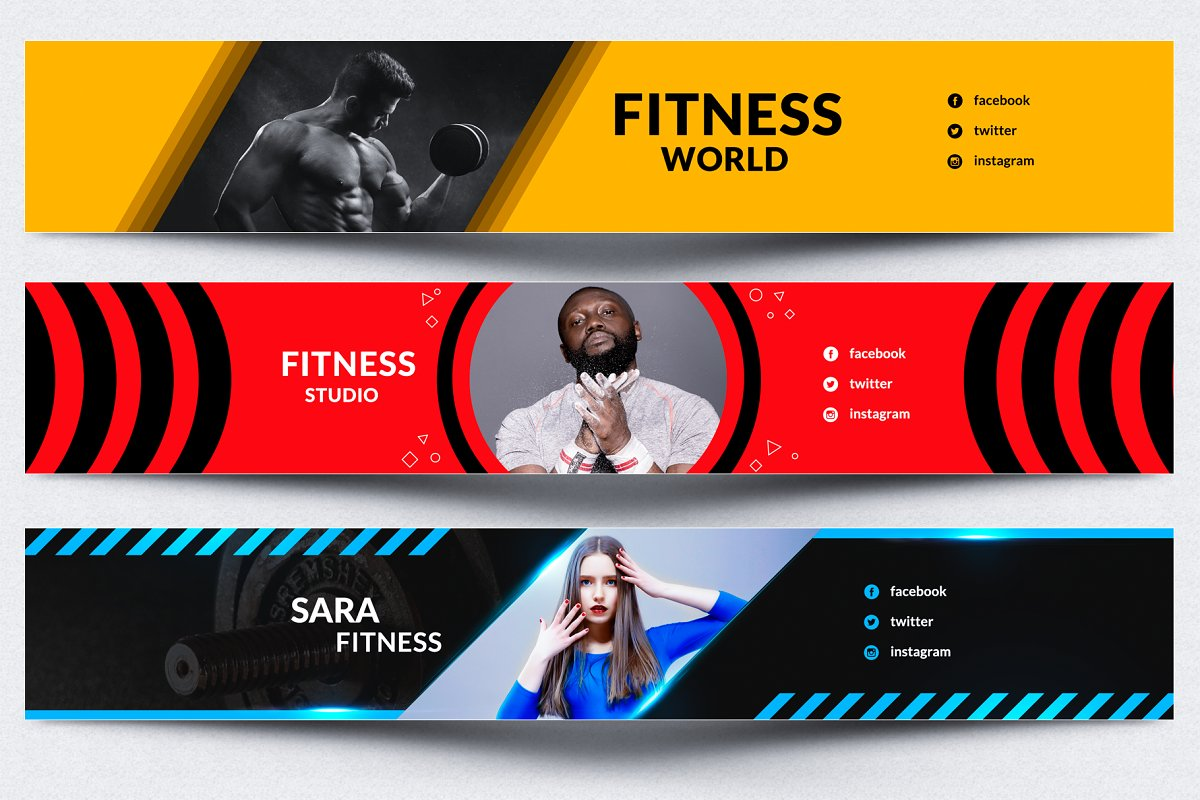Fitness Gym Youtube Banner Youtube Templates Creative