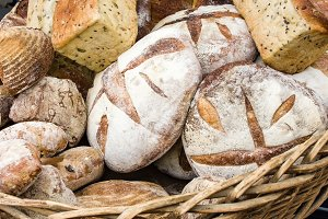Loaves of artisan bread in basket