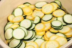 Slices of fresh summer squash