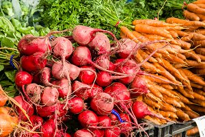 Beets and carrots at the market