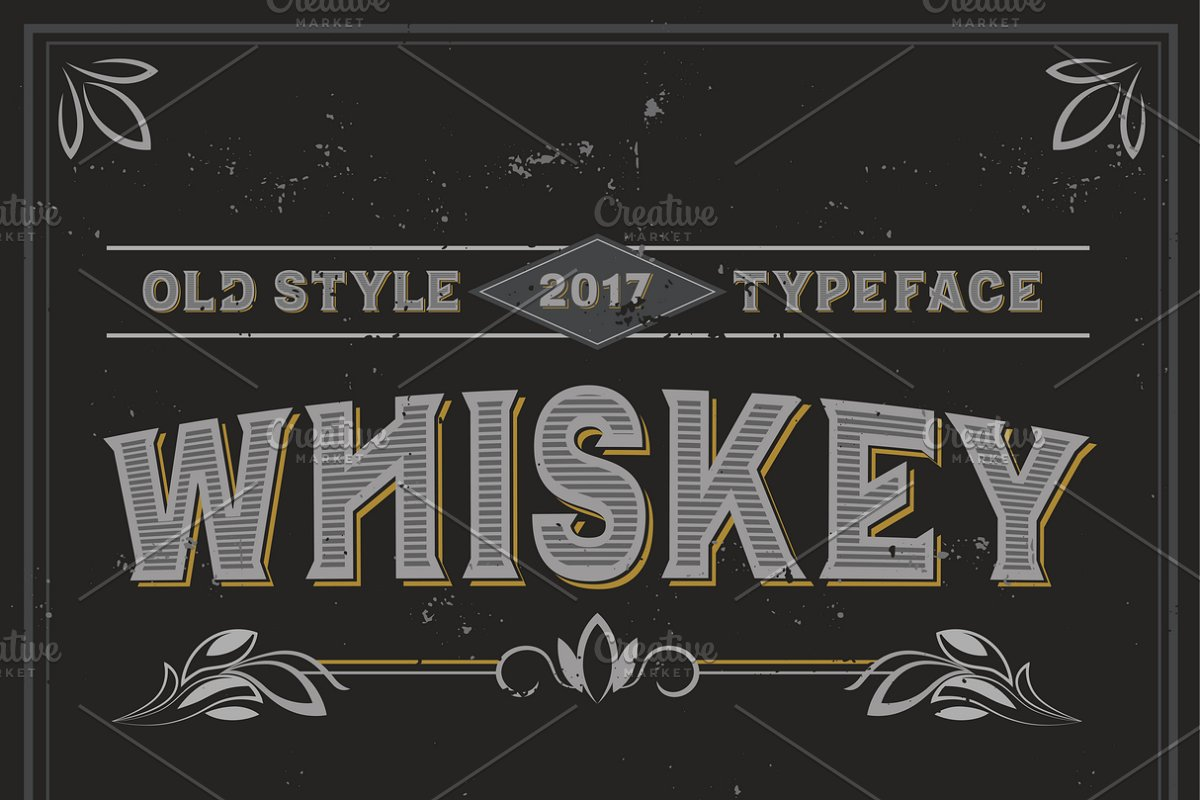 Vintage label typeface Whiskey