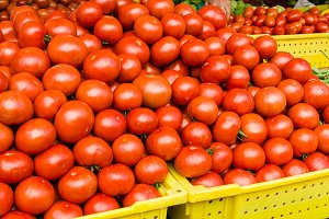 Large display of tomatoes