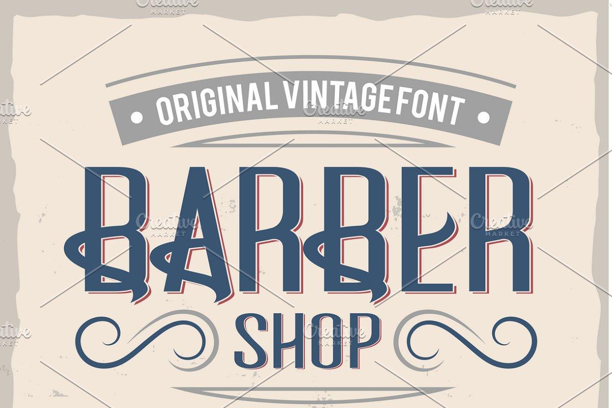 Vintage label typeface Barber