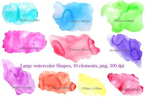 Large Watercolor Background Shapes