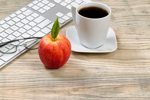 Apple and coffee for work