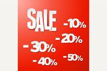 Sale percents paper set. Vector.