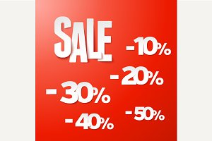 Sale percents paper set. Vector.