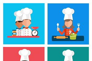 Set of Kitchen Utensils with a Chef