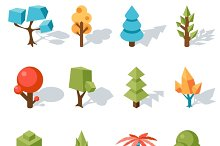 Tree low poly icons