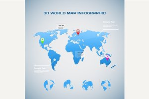 3D World map infographic
